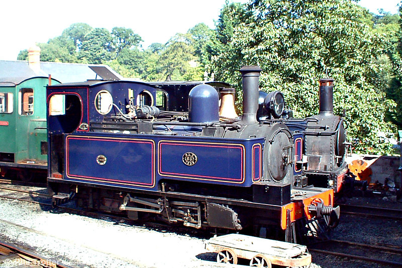Now in blue livery, former Sierra Leone Railway 2-6-2T no. 85 (Hunslet 3815/1954) rests on shed at Llanfair Caereinion 21st August 2005. The loco was re-imported into the UK in 1975.