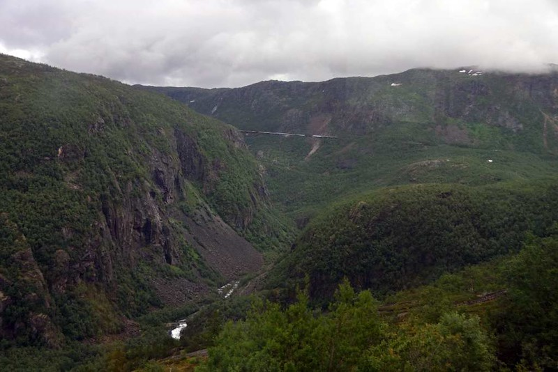 Head of Rombak fjord, near Narvik, Norway, Fri 24 July 2015 3 - 1310.  Looking east to the course of the railway climbing away in the distance.