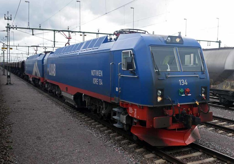 LKAB 134 Notviken & 133 Kopparasen, Kiruna Central, Sweden, Fri 24 July 2015 - 1539.  The locos seen the previous day at Narvik set off with more ore from Kiruna.