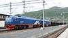 LKAB 134 Notviken & 133 Kopparasen, Narvik station, 23 July 2015 1 - 1716.  Arriving with iron ore from the Kiruna mine.  These trains have 68 wagons and weigh 8600 metric tonnes.
