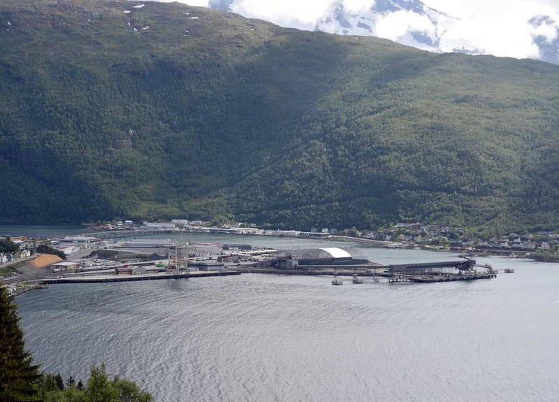 Narvik harbour (part), 23 July 2015.  Looking south.  The E6 road can be seen beyond.