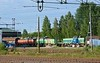 Green Cargo T44s Nos 322 (left), 323 & 318, Boden, Sweden, Fri 24 July 2015 - 1918.