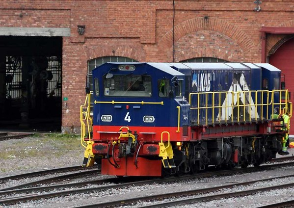 LKAB T46-4, Kiruna wagon depot, Sweden, Fri 24 July 2015 - 1537.  The T46 class of four Co-Co diesel-electrics was built by Nohab in 1973-74 for shunting at Kiruna.  They have just been modernised with new 1491kW Cummins engines and cabs at each end (previously there was one central cab).