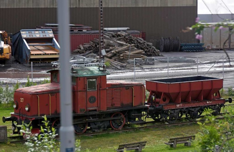Preserved 0-6-0 electric No 27 and wagon, Narvik port, 23 July 2015