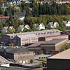 LKABs tidligere verkstedområde i forgrunnen. Husrekke bak var tidligere funksjonærboliger for LKAB. Sjømannskirken sees bak til venstre.