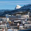 """UiT, Norges Arktiske Universitet. """"Høgskolen"""" nå med ny logo og ny tllhørighet. Foto fra toppen av Scandic-hotellet. 22. februar 2016."""