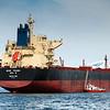 WISE YOUNG, Flagg: Korea, Type: Bulk Carrier, <br /> DWT (dødvekttonn): 82012, Lengde x bredde: 229m x 32m<br /> Byggeår: 2011. Fløttmann er  15x6 m. Ofotfjorden, 19. mai 2014