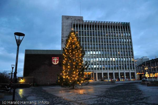 Narvik Rådhus med juletre.