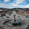 Centre of downtown Narvik, with the Freedom monument in the sentre.