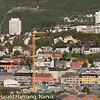 Nedre del av Narvik sentrum, sommer 2010. Rica-hotellet er såvidt påbegynt i forgrunnen, bak til høyre Høgskolen i Narvik.