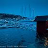 Småbåthavna i Vaswsvik. Sjøen går opp i de små båthusene. Første juledag 2011 og springflo. Det blir åpenbart varmere, våtere og villere.