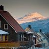 28.1.2012: Sola snart tilbake i Narvik. Nå ser vi kun sola i fjelltoppene.