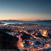 Narvik, mørketid. 22. desember 2014. Foto fra Taraldsvikfoss kraftverk.