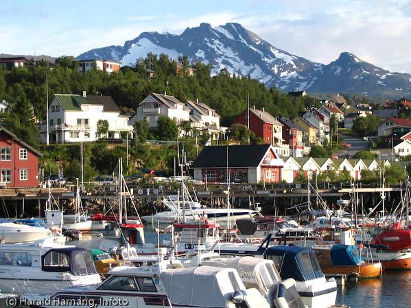 Småbåthavna i Vassvik. I bakgrunnen fjellet Den sovende dronning.
