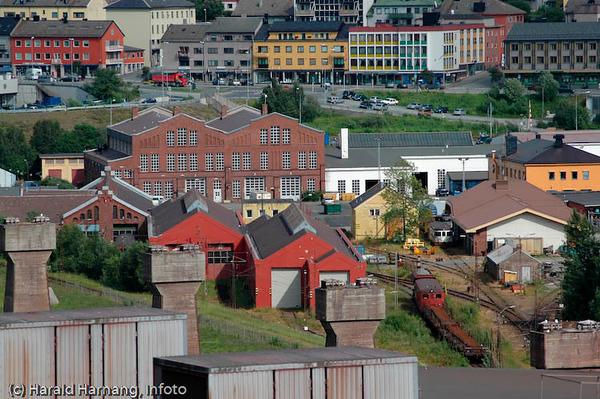 I forgrunnen tidligere NSBs vogn og togverksteder- Bak sentrum med E6.