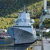 """KNM Roald Amundsen, """"spania-fregatt"""" ved dypvannskaia på Fagernes, 13. sept 2015."""