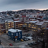 Narvik sentrum, mørketid. Foto ca kl 13 12. desember 2012. Ei lys stripe mot sørvest forteller at sola er nedenfor her et sted.