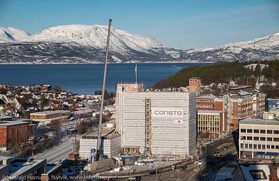 Restaureringen av rådhuset er i rute. Foto fra taket av Scandic-hotellet, 22. febuar 2016.