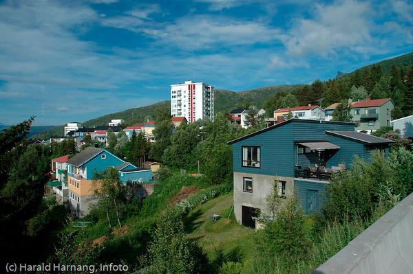 Boligområde nær Høgskolen i Narvik: Fjellveien og Terrassen.