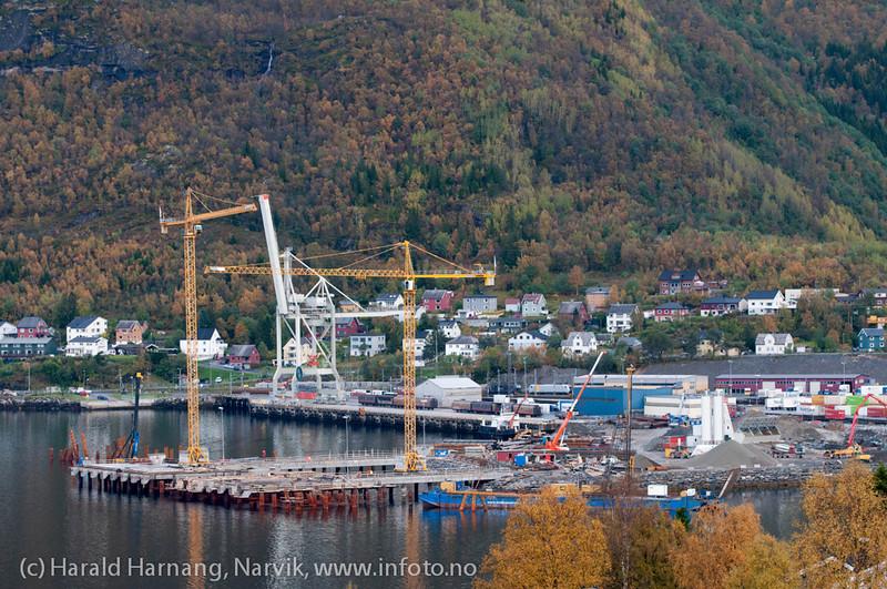 Northland Resourses utskipningsanlegg under bygging, september 2012.<br /> Northland Resourses shipping facilities in Narvik under construction.