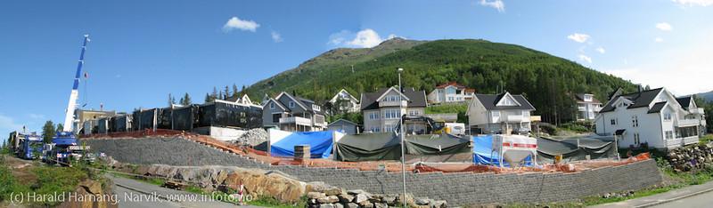 Sammensatt panorama, bygging av boligenheter i Fjellheimfeltet,
