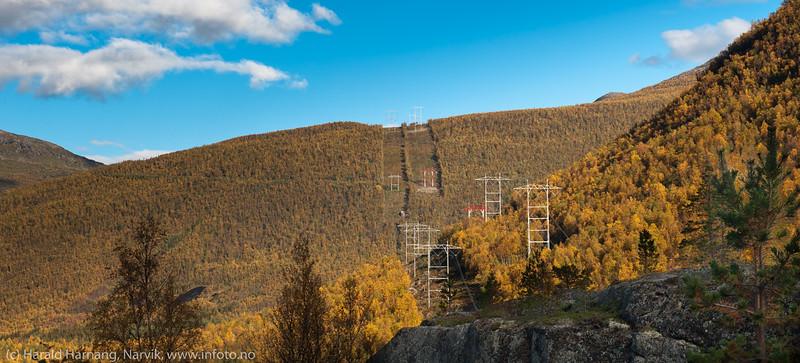 Skamdalen, Beisfjord 24. september 2015. Statnetts trasé. Strekningen Skjomen - Balsfjord.