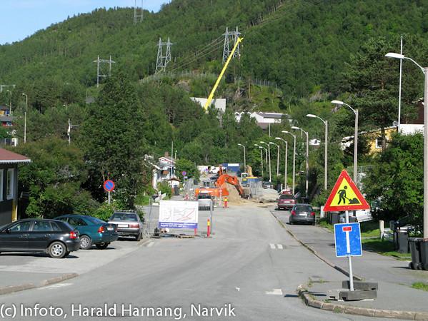 VVA-renovering i Snorres gate. Helt i bakgrunnen jobber Statnett med ny trafostasjon.