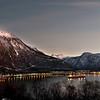 Panorama over Narvik by og havn, 23. desember 2012. Bildet er satt sammen av 15 delbilder.