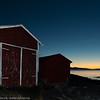 """""""Naust i solnedgang"""". Foto fra Framneslia mot vest, ut Ofotfjorden. 6. oktober ca kl 1820-1840."""