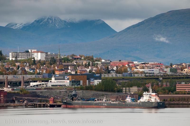 Olivinbåt losses ved gamle kai 3-4. Narvik sett fra Ankenes. sept 2012.