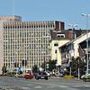 Narvik sentrum med rådhuset, E6 gjennom sentrum.