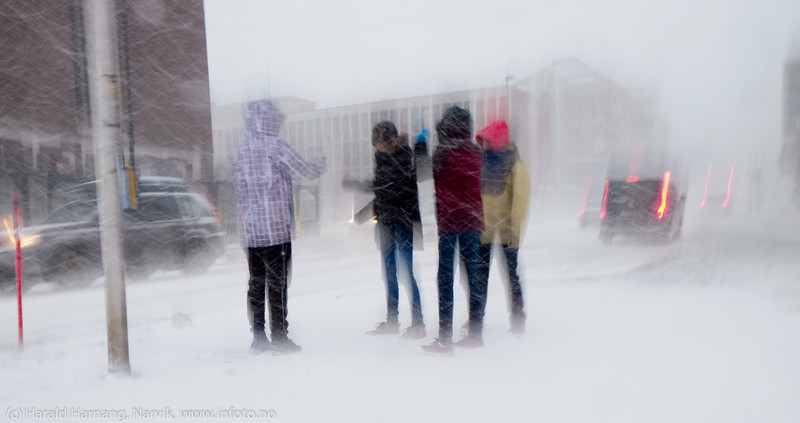 """Forsmak på uvær i Narvik sentrum, ekstremværet """"Ole"""" var ventet å slå til i Narvik kl 16-18. Det kom heldigvis aldri i full tyngde. Bildet tatt på formiddagen i sentrum, ca kl 12-13."""