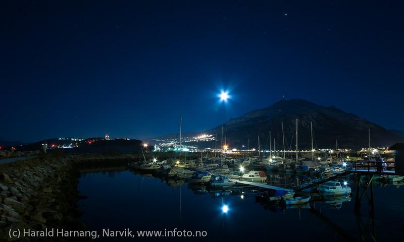 Båthavna på Ankenesstrand. Fotografering sen kveld med fullmåne som hovedlyskilde, 16. januar 2014.