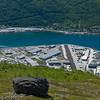 Fagernes industriområde, rett sør for Narvik. Beisfjordbrua over fjorden. Området er utfyllt og utbygget de siste årene. Stein fra SILA-utbyggingen (Silo og lager fra LKAB) skal gi mer kaiplass (til høyre). Foto: juli 2008.