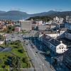 Torget med Feihetsmonumentet i parken nærmest. Bjerkvik helt bak. Narvik sentrum, foto 19. september 2012.