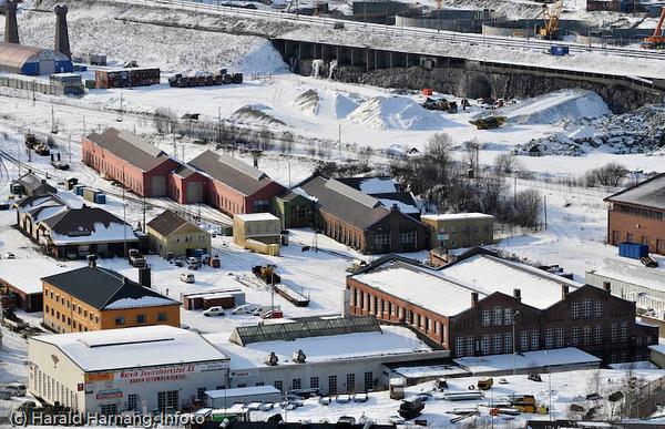 Deler av tidligere NSBs togverksted i Narvik.