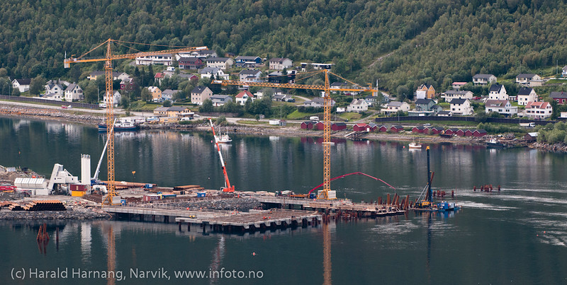 Malmkai-terminal for Northland Ressources, Fagerneskaia. Progresjon for kai-anlegg pr august 2012. Northland Resourses shipping facilities in Narvik under construction.