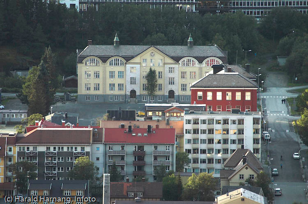 Villaveien skole (gul bygning) og Tårnveien skole (rød bygning), begge grunnskole.