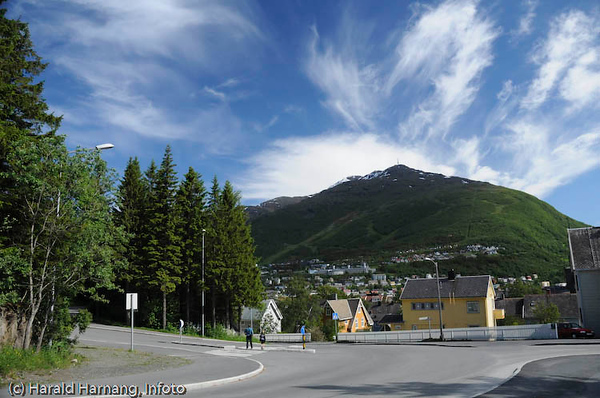 Narvik med Fagernestoppen bak (med radio/TV-mast på toppen). Foto fra toppen av Stadionbakken.