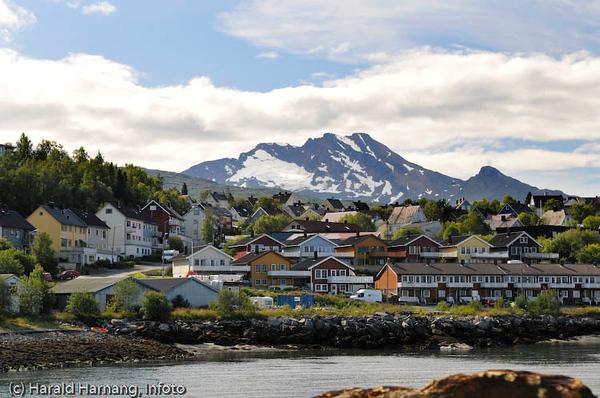 Den sovende dronning (fjellformasjon i bakgrunnen). I forgrunnen deler av bydelen Vassvik.