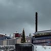 LKAB lossesentral. 3. juledag 2014. Snevær på natta. Mørketid og en julestille by.