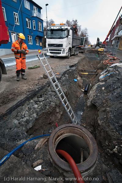 Skifting av hovedvannledning gjennom Narvik sentrum (E6).