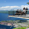 Øvre Fjellheis-stasjon, 650 moh. Restaurant med god utsikt over by og område rundt.
