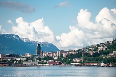 Narvik sentrum. Foto fra Ankenes. 21. juli 2015.