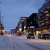 Kongens gate, Narvik. 3. juledag 2014. Snevær på natta. Mørketid og en julestille by.