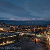Frydenlund og Frydenlundsbrua. E6 gjennm byen. Rådhuset. Narvik sentrum, mørketidsbilde, 19. desember 2012.