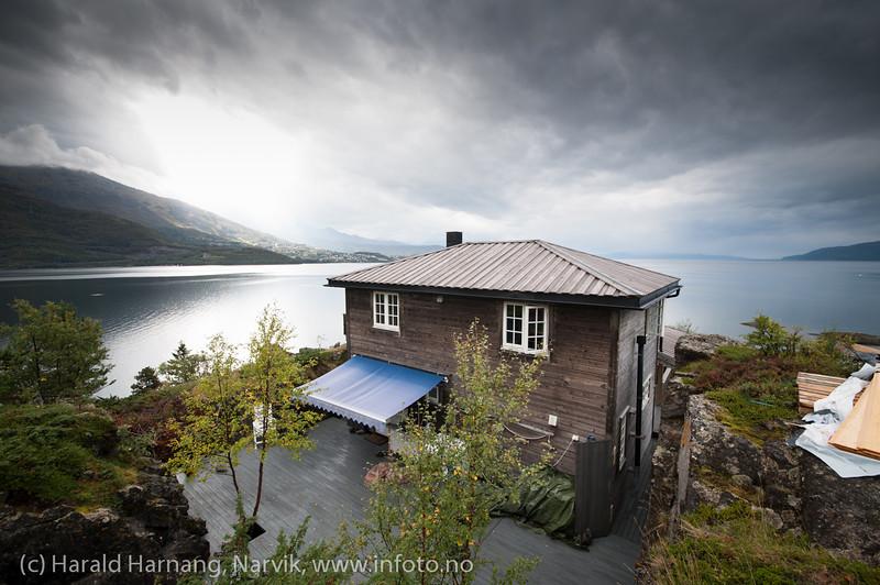 Øyjord, hyttebebyggelse. Øyjord og Leirvikområdet vil trolig blir Narviks nye forstad når brua er ferdig. Situasjon pr 5. september 2013.