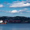 Spotlight på lite malmskip (?) på havna i Narvik. Cargoskipet Aasli, på Narvik havn 13. sept 2015. Flag:  Gibraltar. Gross Tonnage:  3968<br /> Deadweight:  6630 t<br /> Length × Breadth:  100m × 16m. Year Built:  1994
