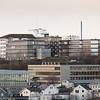 Narvik sykehus og Frydenlund videregående skole (gymnaset). Foto fra Utsikten, 7. november 2018.