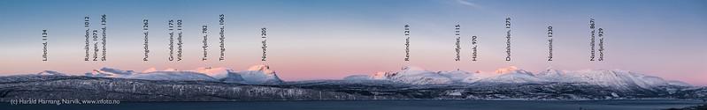Fjellrekke over Herjangen og Veggen sett fra Narvik